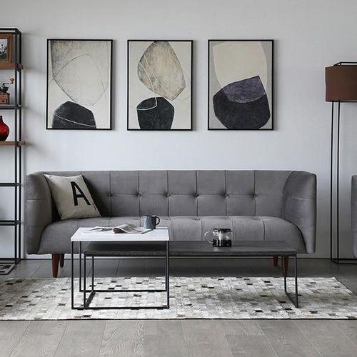 Sofa Importado 3 Puestos Gris