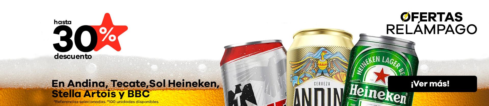 30% en cervezas